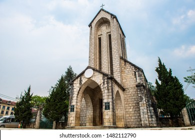 An iconic stone church of Sapa named Holy Rosary church the Gothic style church located in the heart of Sapa, Vietnam. Sapa is the resort town in Lao Cai province in Northwest Vietnam.