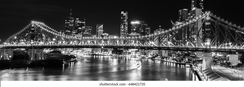 The iconic Story Bridge in Brisbane, Queensland, Australia. Black and White.