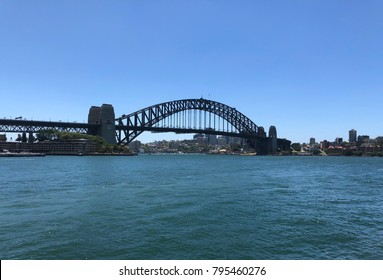 Iconic Sydney Harbour Bridge on a beautiful cloudless day. Taken - 17 January 2018.