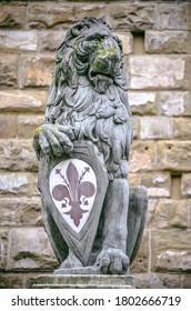 El símbolo icónico del león con flor de lirio en la escultura de Florencia
