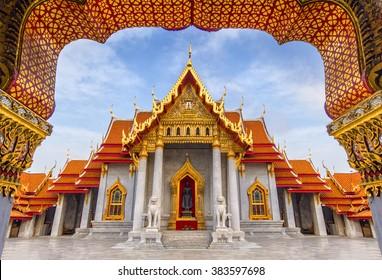 The iconic temple, Marble Temple, Wat Benchamabopit Dusitvanaram in Bangkok, Thailand