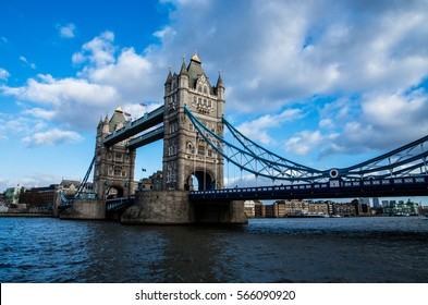 The iconic Tower Bridge with his great profile against the blue sunny sky in winter.