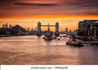 The iconic Tower Bridge in London, United Kingdom, just before sunrise