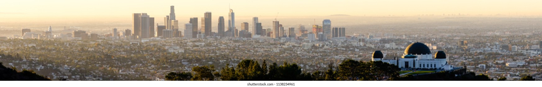 The iconic town of Los Angeles California stretching out in all directions as far as the eye can see