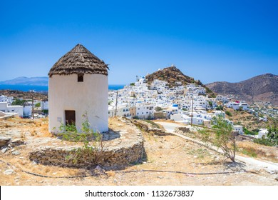 Iconic traditional wind mills in Ios island, Cyclades, Greece.