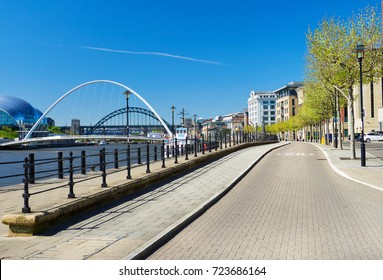 The iconic Tyne & Millennium Bridge over the River Tyne at Newcastle & Gatesheads Quayside.