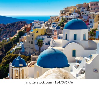 Iconic View of Blue Domed Churches on the Charming Greek Isle of Santorini, Greece