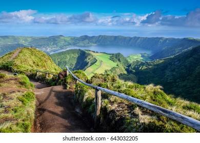 Iconic view on azorean Sao Miguel island - miradouro da boca do inferrno