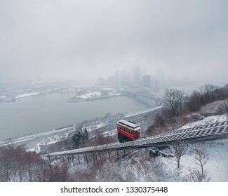 Iconic view of Pittsburgh Pennsylvania with the Duquesne incline during a snow storm
