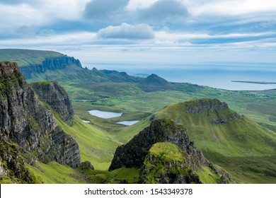 Iconic view from the trotternish ridge to the coastline of the isle of skye