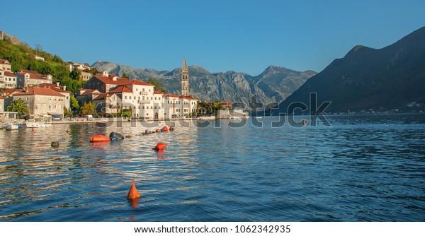 Iconic village of Perast on Kotor Bay, Montenegro, Europe.