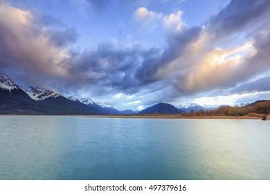 The Iconic Wakatipu lake during stunning sunrise at Glenorchy, Otago region, New Zealand