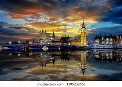 The iconic Westminster Bridge and Big ben Clocktower in London just after sunset time, United Kingdom