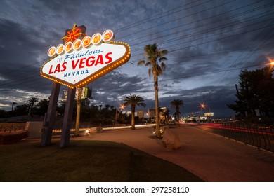 IconicLas Vegas, Nevada USA -  July 2014.   Las Vegas welcome sign, located on The Las Vegas Strip in Las Vegas, Nevada