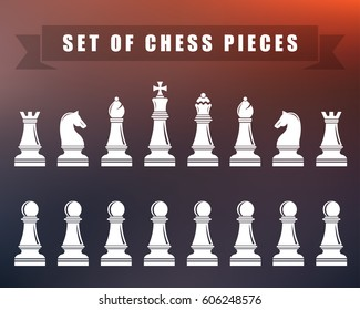 Icons of chess. Chess pieces on blur isolated background.  illustration.