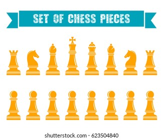 Icons of chess. Chess pieces on a white isolated background. Raster version.