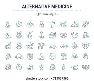 Icons in flat, contour, thin and linear design. Alternative medicine. Natural beauty. Simple isolated icon on  background. Concept illustration for Web site app. Sign, symbol, emblem. Raster version.
