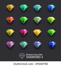 Icons glowing gems, diamonds