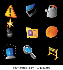 Icons for interface, black background. Raster version. Vector version is also available.