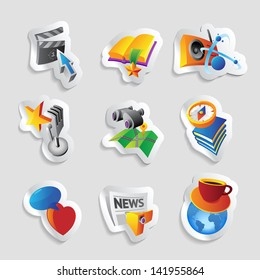 Icons for leisure, travel, sport and arts. Raster version. Vector version is also available.