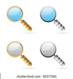 Icons for magnifying glass. Raster version. Vector version is also available.