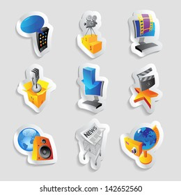 Icons for media and entertainment. Raster version. Vector version is also available.