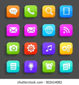 Icons for mobile phone, isolated on gray background. Rasterized Copy