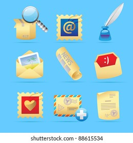 Icons for postal services. Raster version. Vector version is also available.