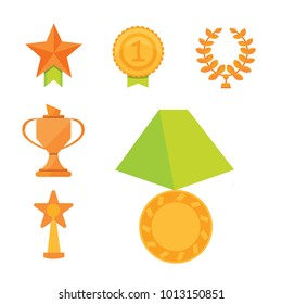icons set of golden sport award cups in modern flat style.