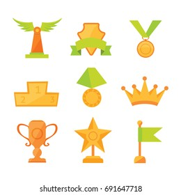 icons set of golden sport award cups in modern flat style