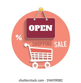 Icons of shopping concept with sign board, trolley, percent and sale text. Raster version