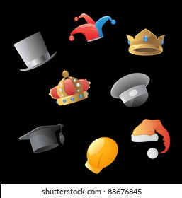 Icons for various hats. Raster version. Vector version is also available.