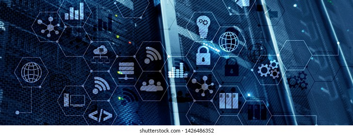 ICT - information and telecommunication technology and IOT - internet of things concepts. Diagrams with icons on server room backgrounds.