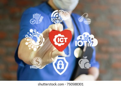 ICT Medicine concept. Information Communication Medical Technology.  Doctor offers heart with ict gear icon on virtual interface.