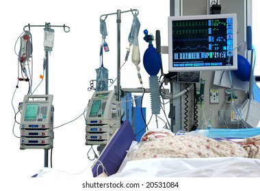 ICU room in a hospital with medical equipments and a patient isolated in white