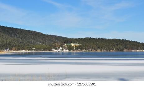 Icy Abant Lake view. Bolu, Turkey.