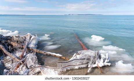 Icy beach along Lake Michigan in northern Michigan