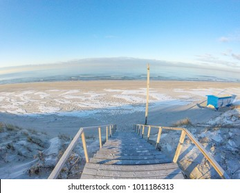 Icy beach on Baltic Sea in winter, Nida, Lithuania