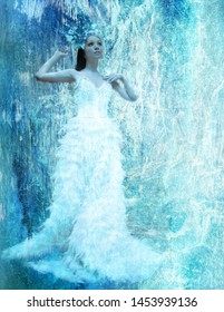 Icy Beauty in A Blue Crystal World
