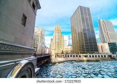 Icy Chicago River in downtown Chicago