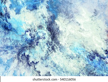 Icy clouds. Blue artistic splashes. Abstract cold painting pattern. Soft texture for creative graphic design. Futuristic blue pattern. Background for poster, cover booklet, banner. Fractal art
