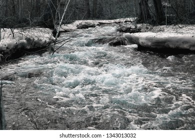 Icy cold stream in winter