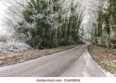 Icy country road on a winter morning