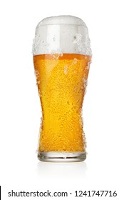 Icy frosty glass of beer isolated on white background