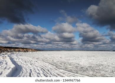 Icy gulf of Riga, Baltic sea.