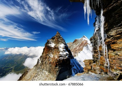 Icy mountain landscape, Monte Cervino, Italy