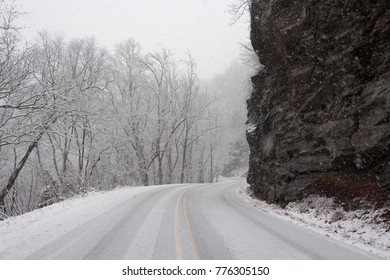 icy mountain road in snow