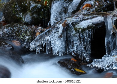icy mountain stream under the snow