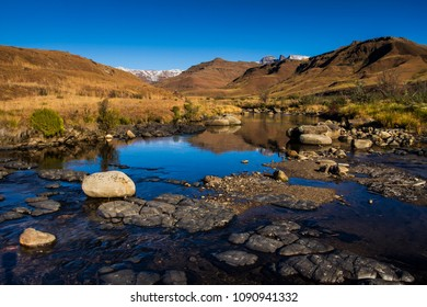 Icy river in the lower Drakensberg mountais, South Africa