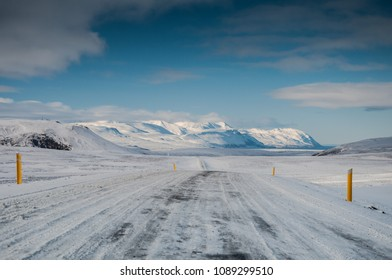 Icy road in north Iceland, winter